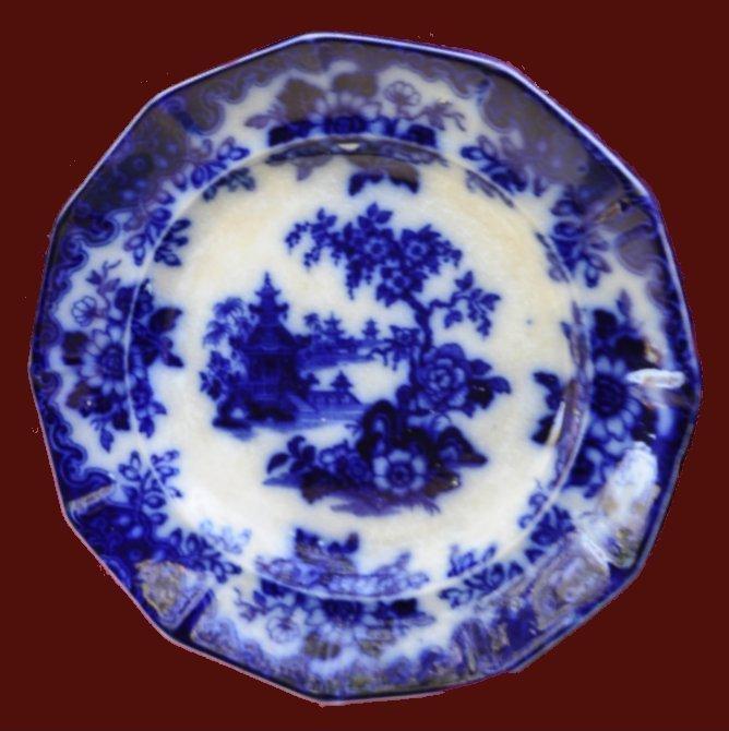 Flow-Blue-Dekor Teller der Fa. Lindner ca 1915 Museum Μουσείο Φιλιά Λέσβου